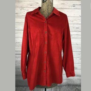 J.jill corduroy shirt red size medium petite